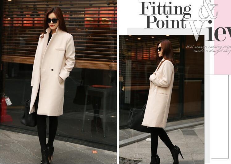 Herbst / Winter Lange Cashmere Coats Frauen 2015 europäische und amerikanische Art und Weise dünne Blazer-Ausschnitt Wolle Windjacke Kleidung Mäntel für Damen