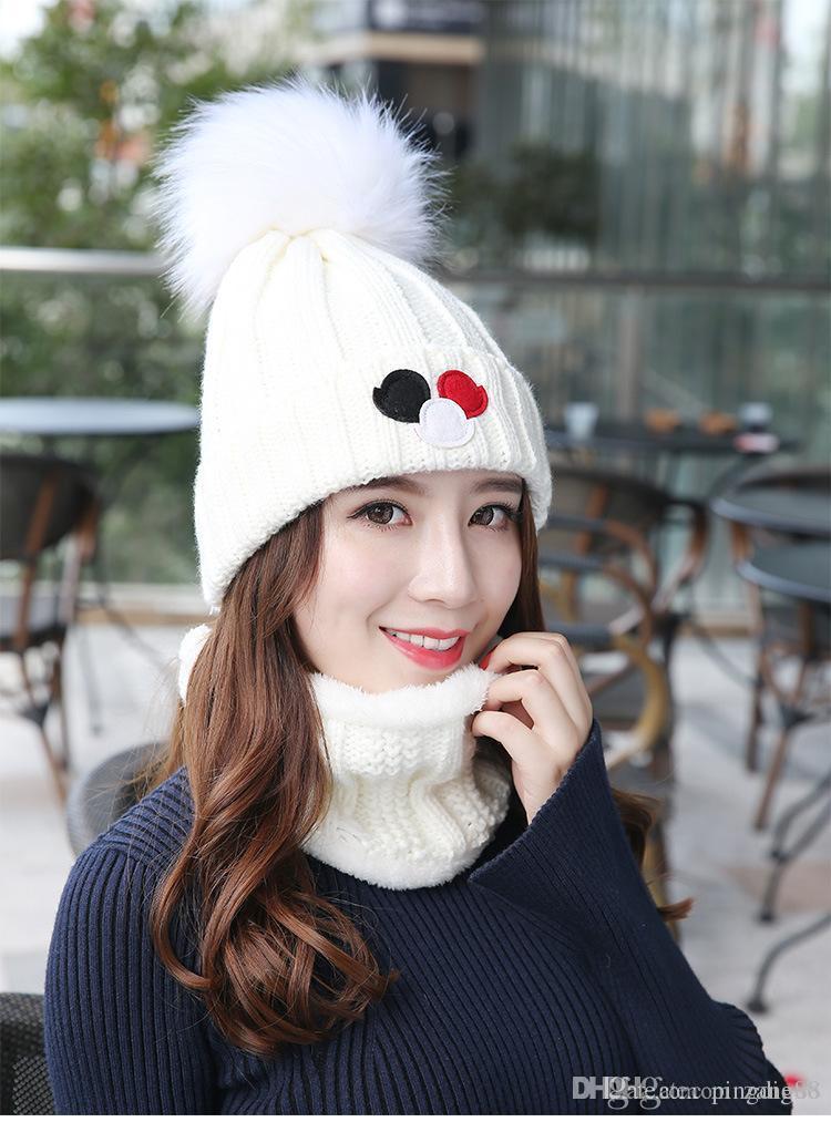 236335faaa8 Fashion Hats Winter Wool Ski Hat Scarf Set Head Hooded Cap Earmuffs ...