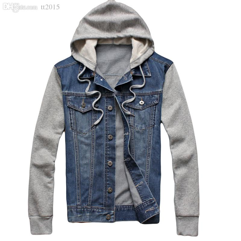 Fall Korean Trend Mens Denim Jacket Sleeve Patchwork Hoodies Jean ...