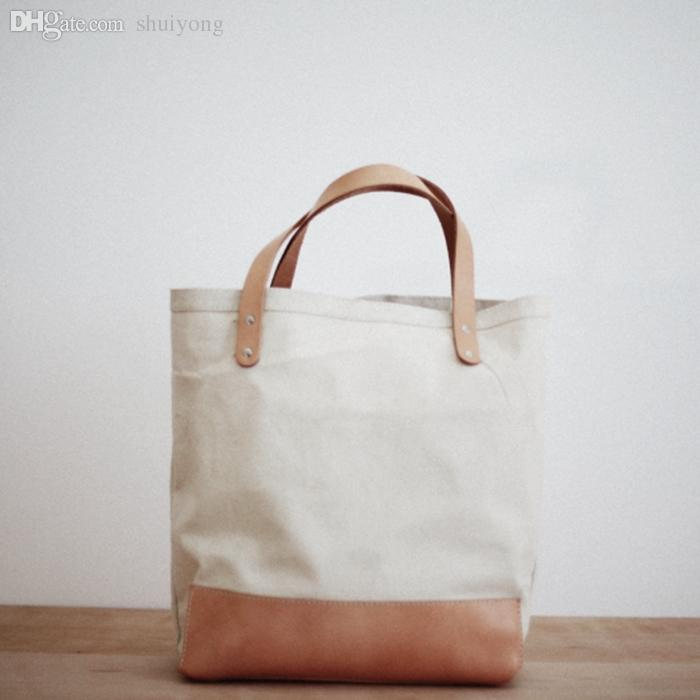 Wholesale Square Thick Canvas Tote Bag With Leather Shoulder ...