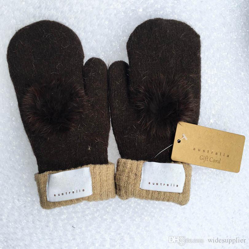 Moda mujer guantes de marca para el invierno y el otoño Guantes de cachemira mitones con encantadora bola de piel Deporte al aire libre cálido guantes de invierno