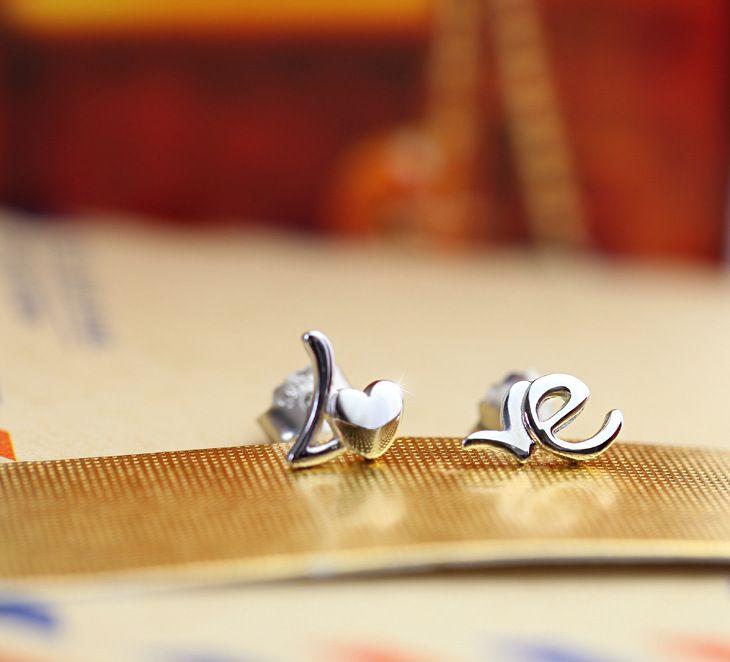Любовное письмо серьги 925 стерлингового серебра Серьги Серебро Свадебные серьги женские ретро сердце серьги