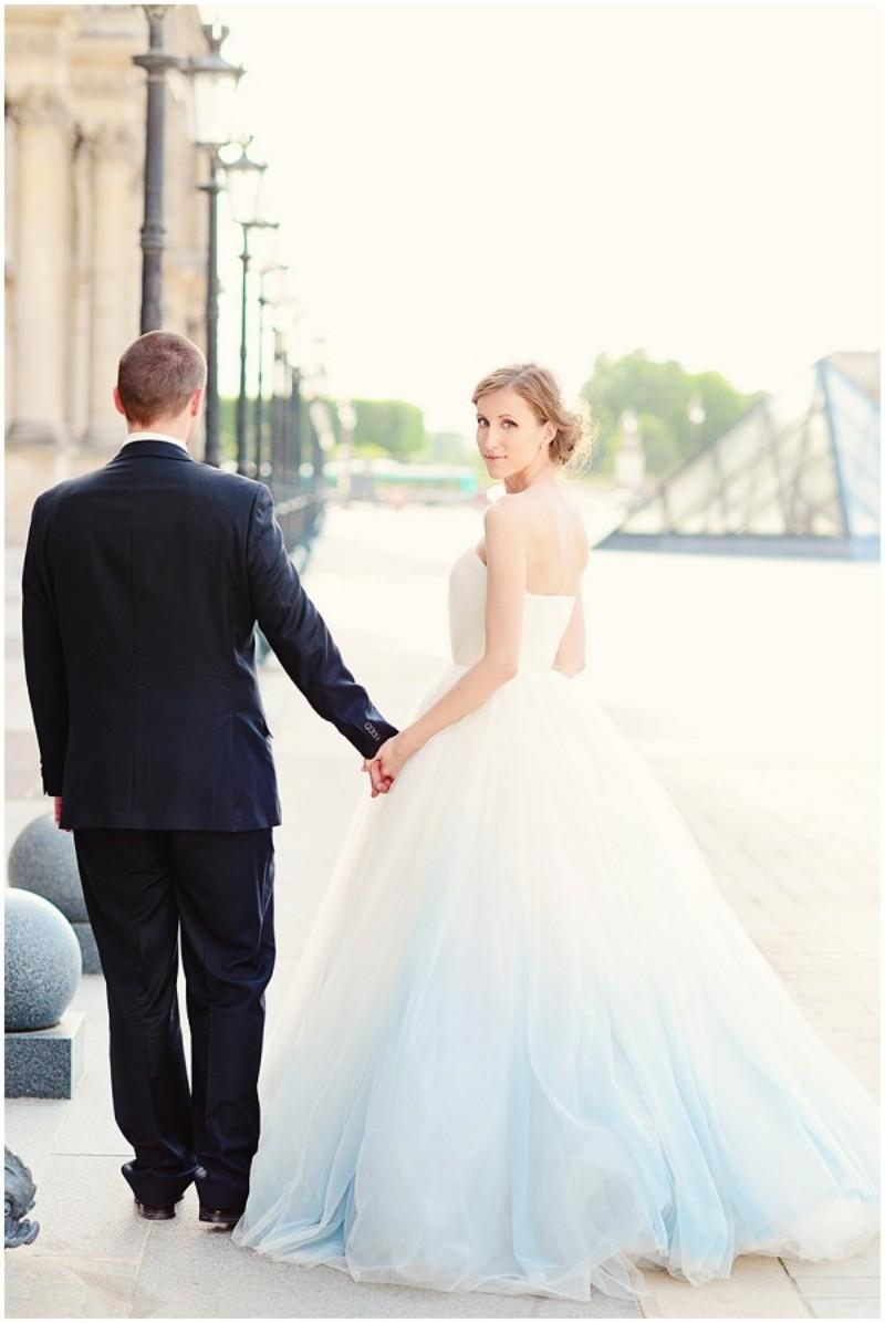 Discount Ombre Wedding Dress Light Blue White Sweetheart Backless ...