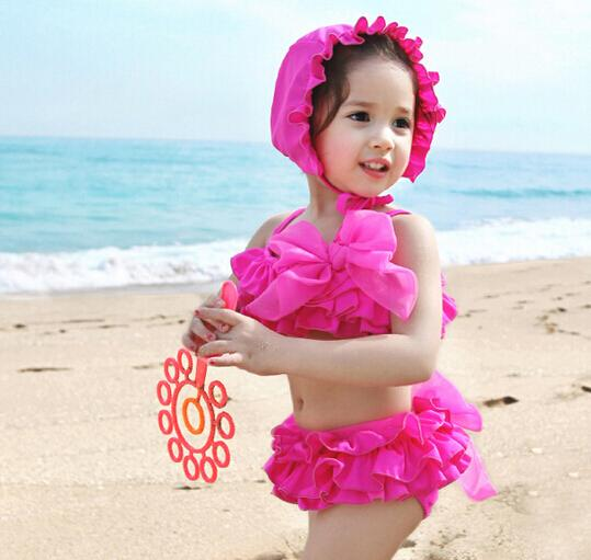 Korean Baby Girl Bikini Kids Girl Swimwear Baby Swimsuit Ruffle Bow  Princess Two Pieces Swim Cute Clothings And Hat in Stock Kids Girls Ruffle  Swimsuit Bow ... b956edbc164