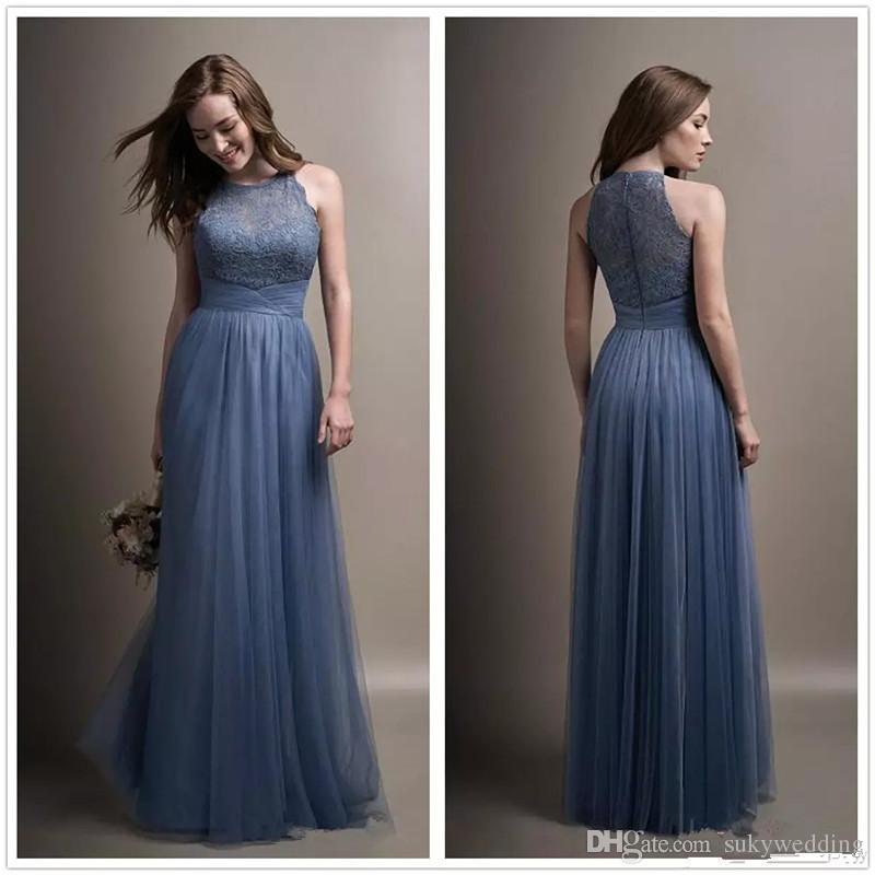 b268b24261545 2018 New Elegant Dusty Blue Bridesmaid Dresses Tulle Long Lace Wedding  Party Dresses Ruffle Floor Length Crew Neck Maid of Bride Dresses