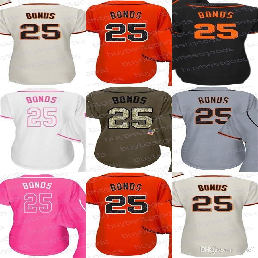 2018 Hot Sale 2017 Womens San Francisco 25 Barry Bonds Ladies Shirt  Coolbase Flexbase White Pink Black Orange Stitched Baseball Jerseys From Cn  Sell, ...