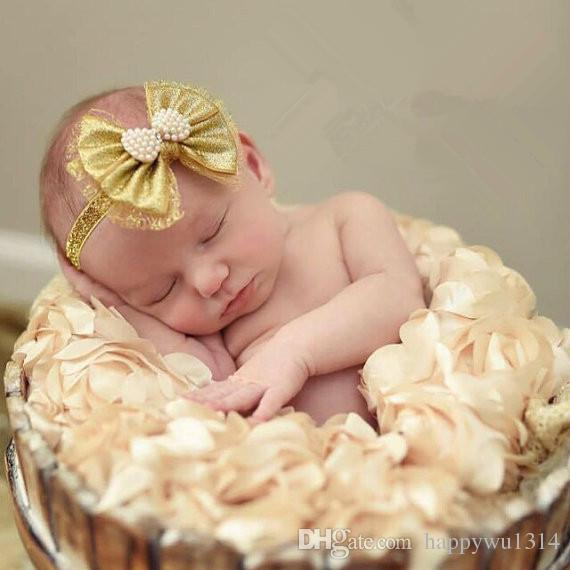 2016 Baby Gold Bows Glitter Headbands Girls Hair Accessories NewBorn Pearl Rhinestone Bow Knot Hair Bands Kids Baby Photography Props