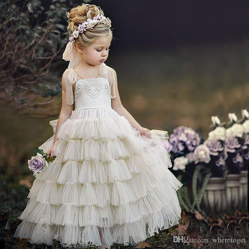 de79589a70f 2018 Cute First Communion Dress For Girls Puffy Lace Tiered Skirt Tulle Ball  Gown Ivory Vintage Wedding Spaghetti Straps Flower Girl Dresses Long Sleeve  ...