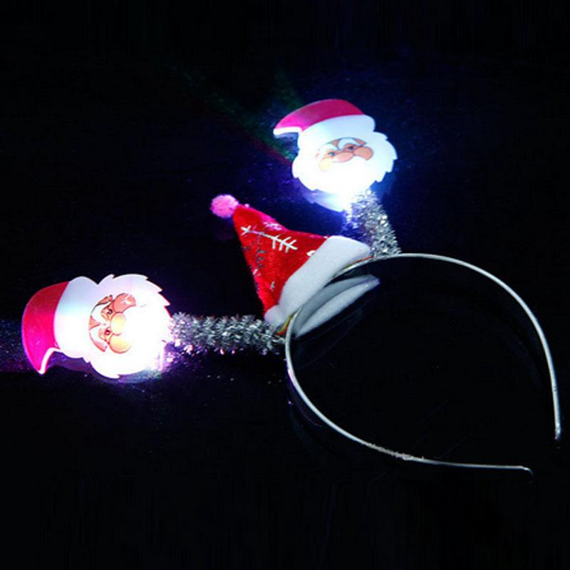 Light Up Flashing Blinking LED Santa Claus Snow Flakes Headband Christmas Headwear Adult Kids Led Rave Hair Accessories Toy