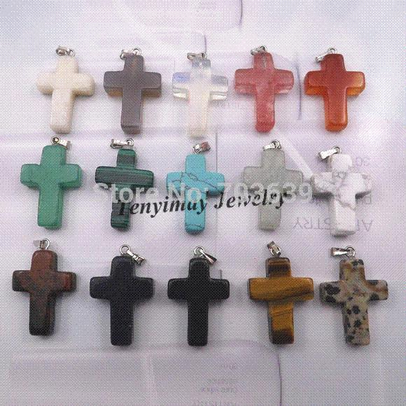 Wholesale mixed semi precious stone cross pendant for necklace real wholesale mixed semi precious stone cross pendant for necklace real natural stone pendant wholesale pendants cheap pendants unique jewelry best friend aloadofball Image collections