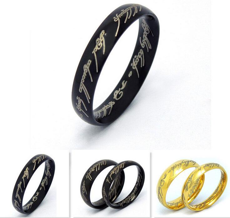 316l Stainless Steel Ring Ancient Legend Hobbit Lord of the Rings Charm Titanium Steel Couple Rings Black/Silver/Gold 4mm Women 6mm Men