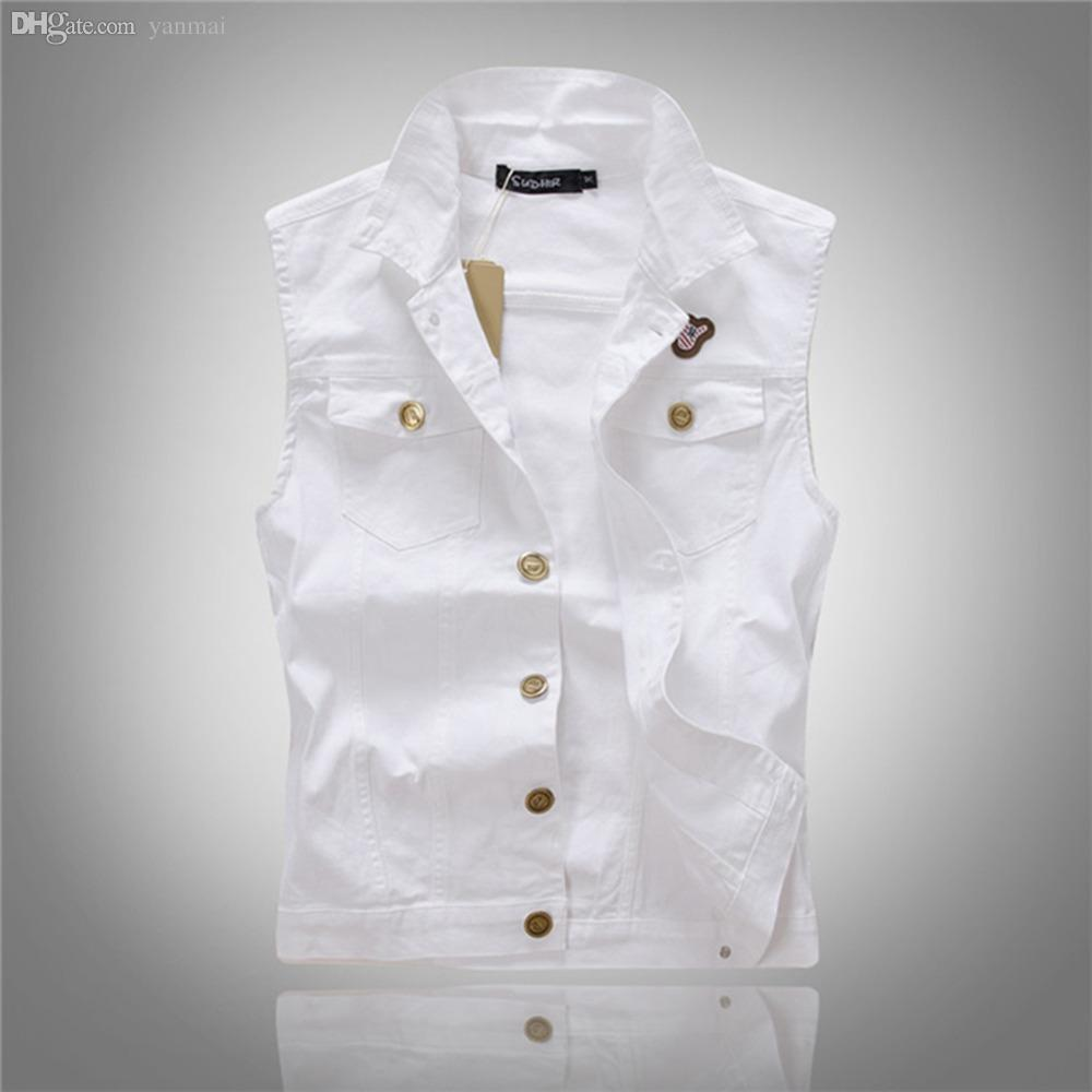 ea39a6c67e 2019 Fall All Match Men White Jean Waistcoat Classic Vintage Jean Vest  Classic Sleeveless Jean Jacket Asian Size M XXL From Yanmai