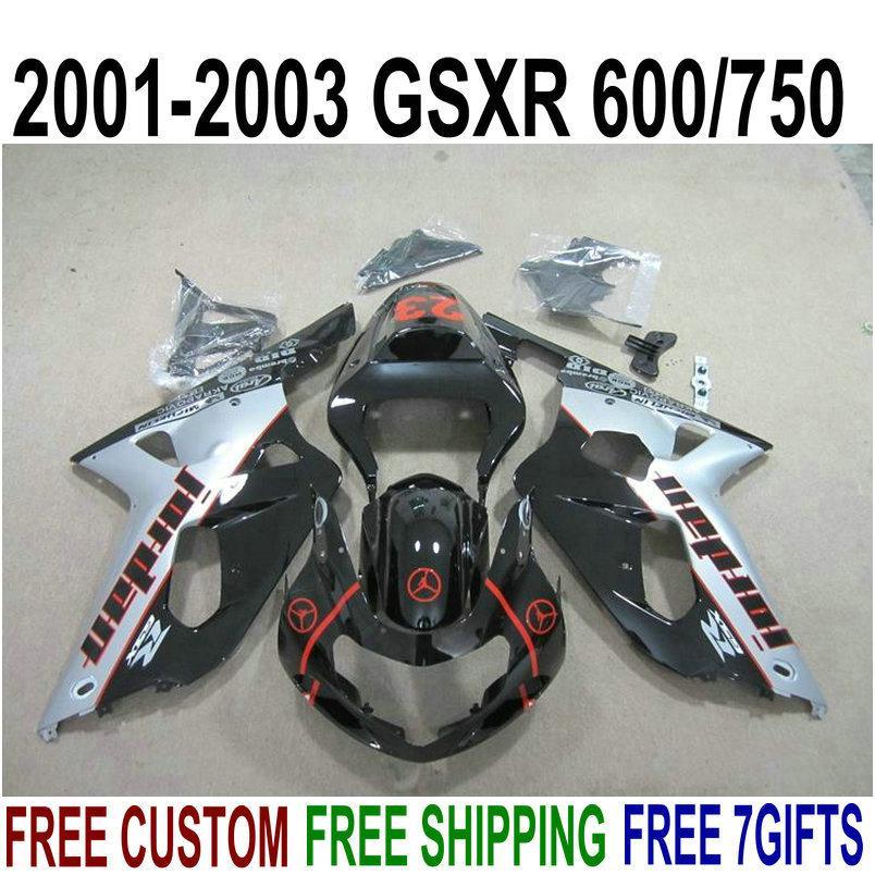 Encaixe perfeito para o conjunto de carenagens de plástico SUZUKI GSXR600 GSXR750 2001-2003 K1 01 02 03 Kit de carenagem para o preto de GSX-R 600 750 preto prateado XA89