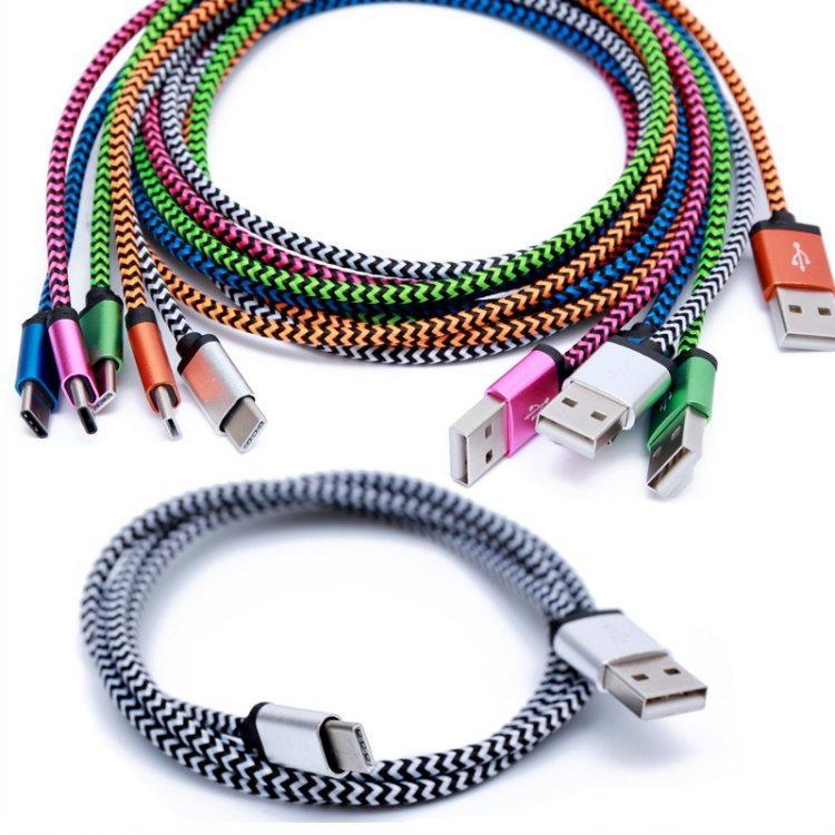 1m 3ft Aluminum Braided Nylon Type C 3.1 Type C Cable Usb Data Sync ...