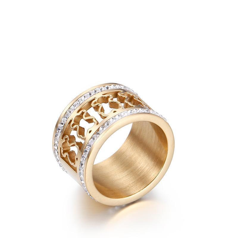 New Female Fashion Ring Hollow Diamond Ring Bear Bear Pearl