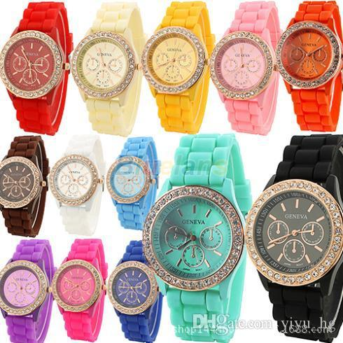 Geneva New Crystal edge Jelly Watch Three circles Display Silicone Strap Band Candy Colors Unisex Men Women watch