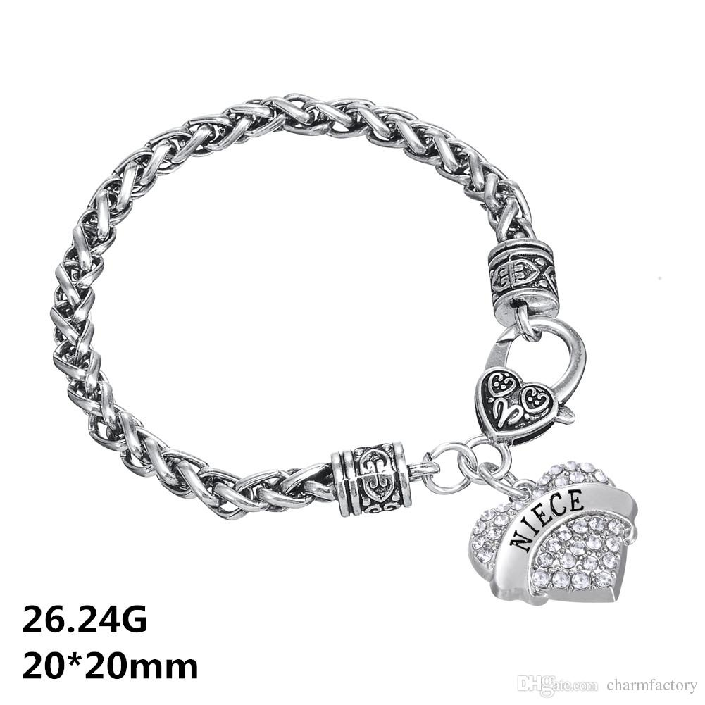 Designer Bracelet Sweet Heart Crystal Wire Thick Bracelets Word Niece Charm Bangles Twisted Chain DIY Bangle Friendship Jewelry