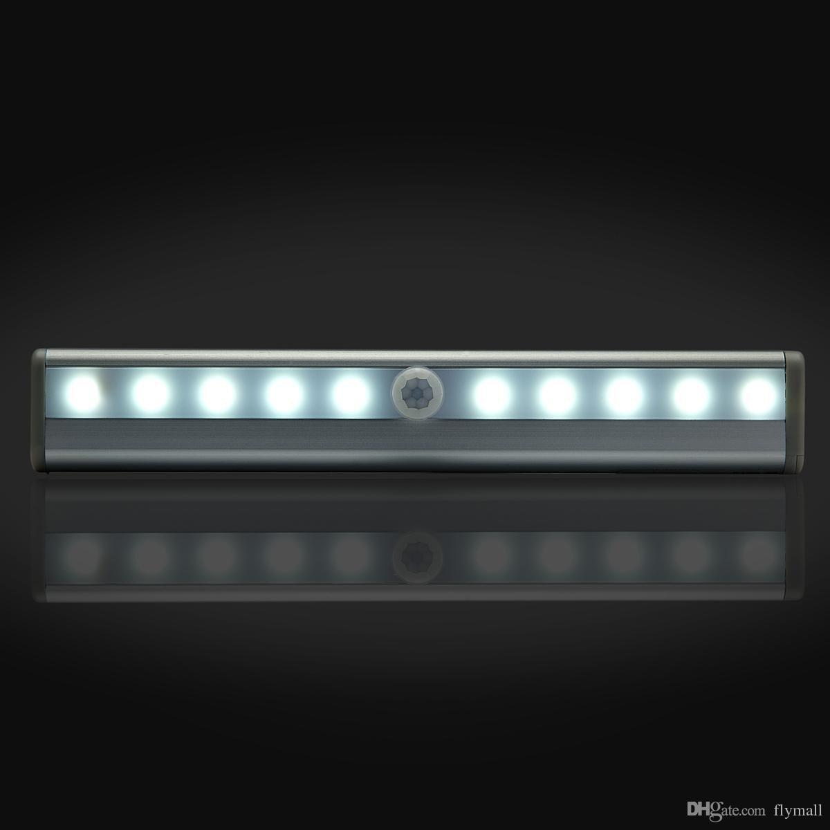 Портативный 10 светодиодный беспроводной датчик движения шкафа шкафа светодиодный ночник / лестница свет / ступенька с магнитной полосой с батарейным питанием