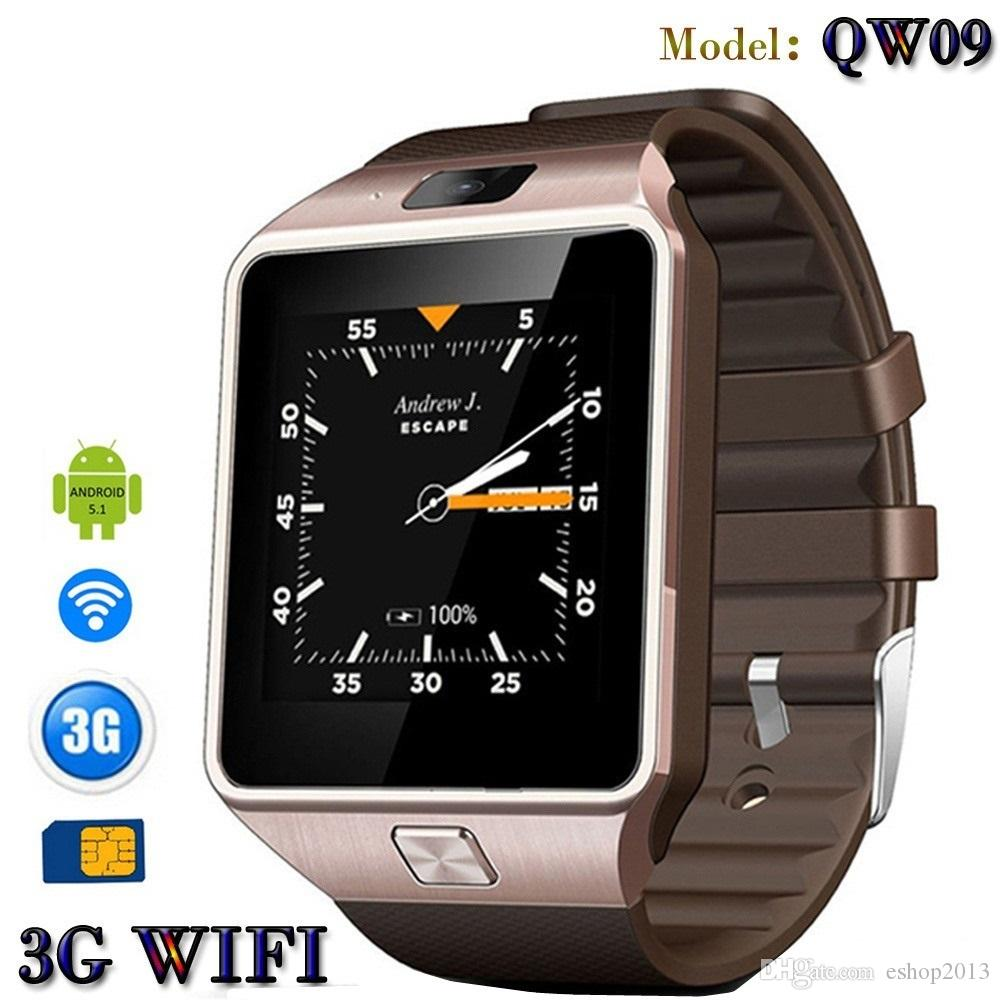 3G WIFI QW09 Android Smart Watch with 5MP Camera 512MB/4GB Bluetooth 4.0 Pedometer SIM Card Call Anti-lost Smartwatches PK DZ09 GT08