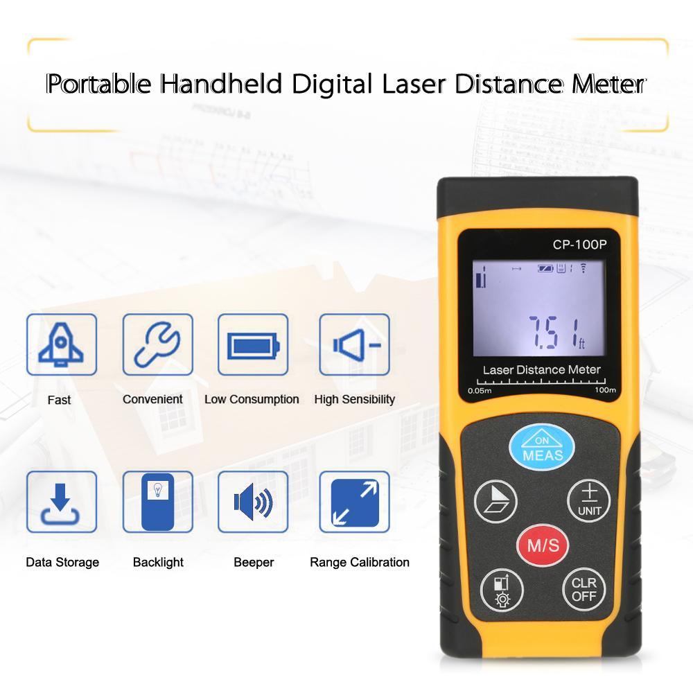 Freeshipping 100m Portable Handheld Digital Laser Distance Meter High Precision Range Finder Area Volume Measurement Data Storage