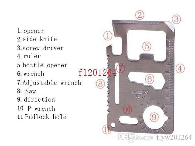 Carte de livraison gratuite Taille 11 en 1 Tool multifonction Carte de poche Camping en plein air Couteau de survie avec Scare Rulder Opener