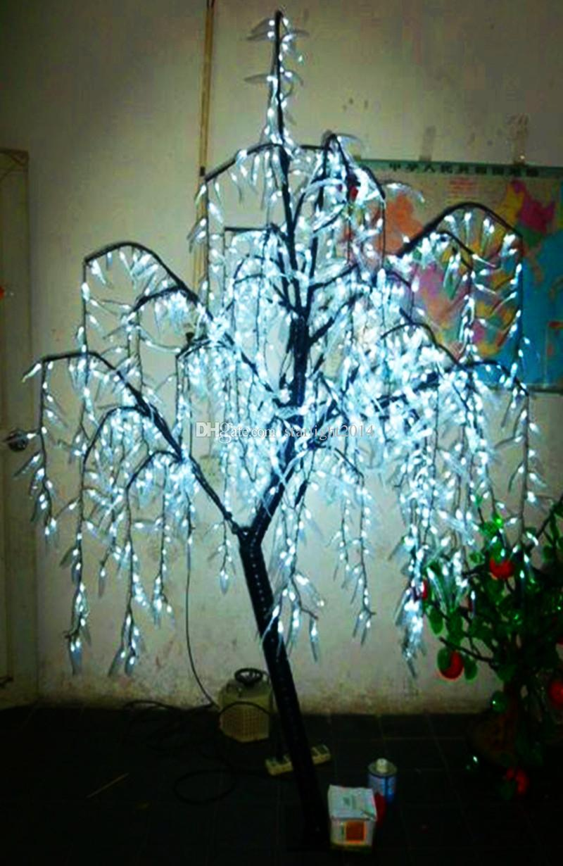 LED Artificial Willow Weeping Tree Light Outdoor Use LEDs 1.8m/6ft Height Rainproof Christmas Decoration Tree White