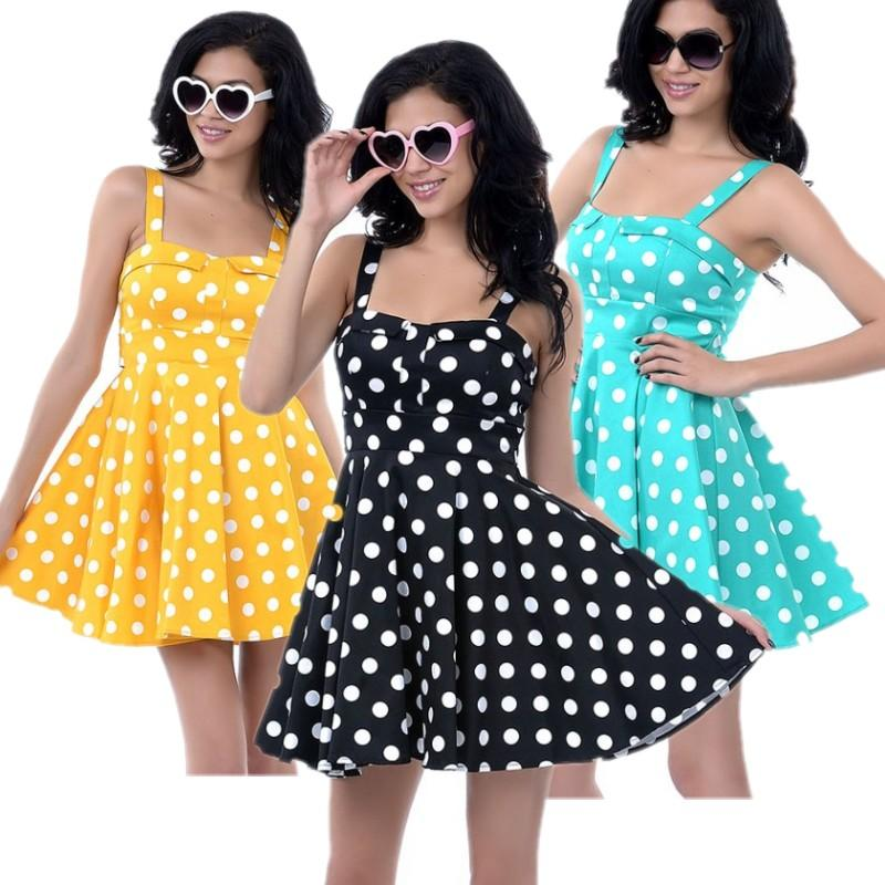 Plus Size Vintage Dress Polka Dots Strapless Pin Up Dress Full ...