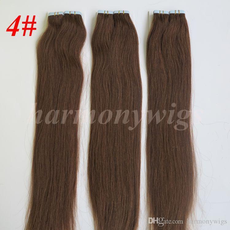 İnsan Saç uzantılarında 50g / Paketi Tutkal Cilt Atkı PU Bant 18 20 22 24inch Brezilyalı Hint Saç Uzatma
