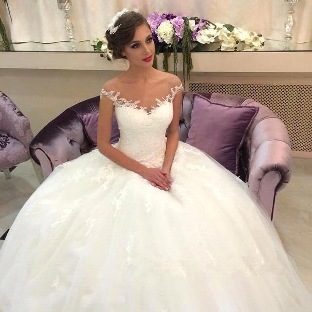 Elegant 2016 Vintage Wedding Dresses Sheer Neck Off Shoulder Lace ...