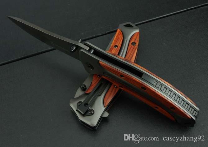 뜨거운 판매 브라우닝 DA58 접는 칼 3Cr13Mov 블레이드 로즈 우드 핸들 야외 사냥 도구 전투 나이프