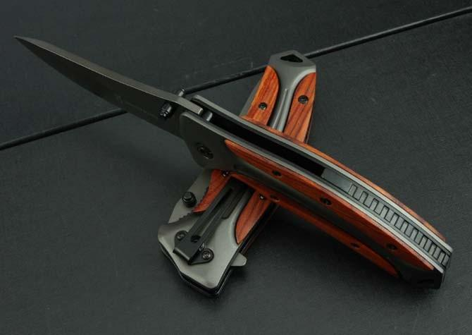 Vente chaude Browning DA58 couteau pliant 3Cr13Mov Lame Rose manche en bois poignée de chasse en plein air outils de combat couteaux