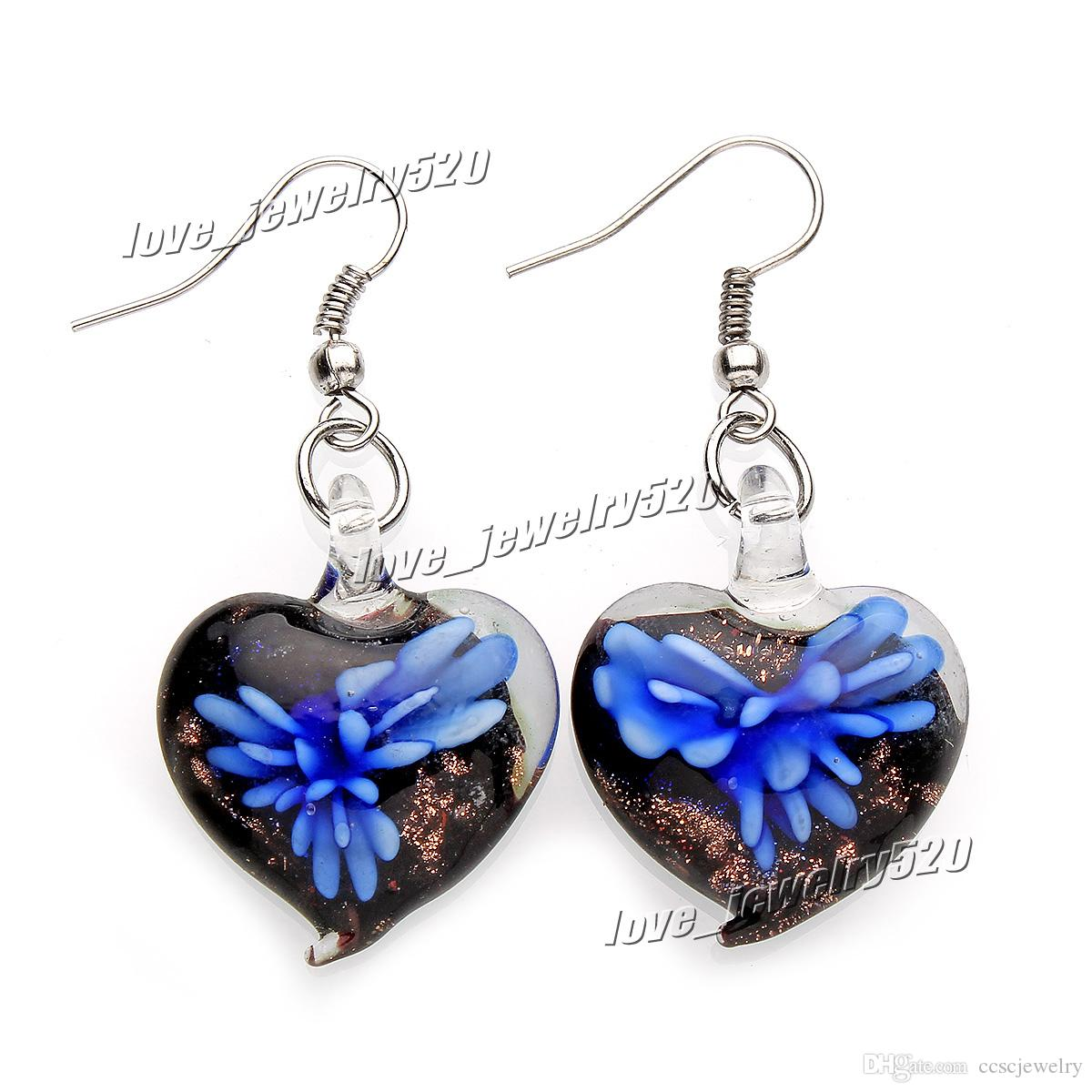 Fashin wholesale handmade mix color Italian Gold sand Heart 3D Flower Lampwork murano glass Earrings #E109