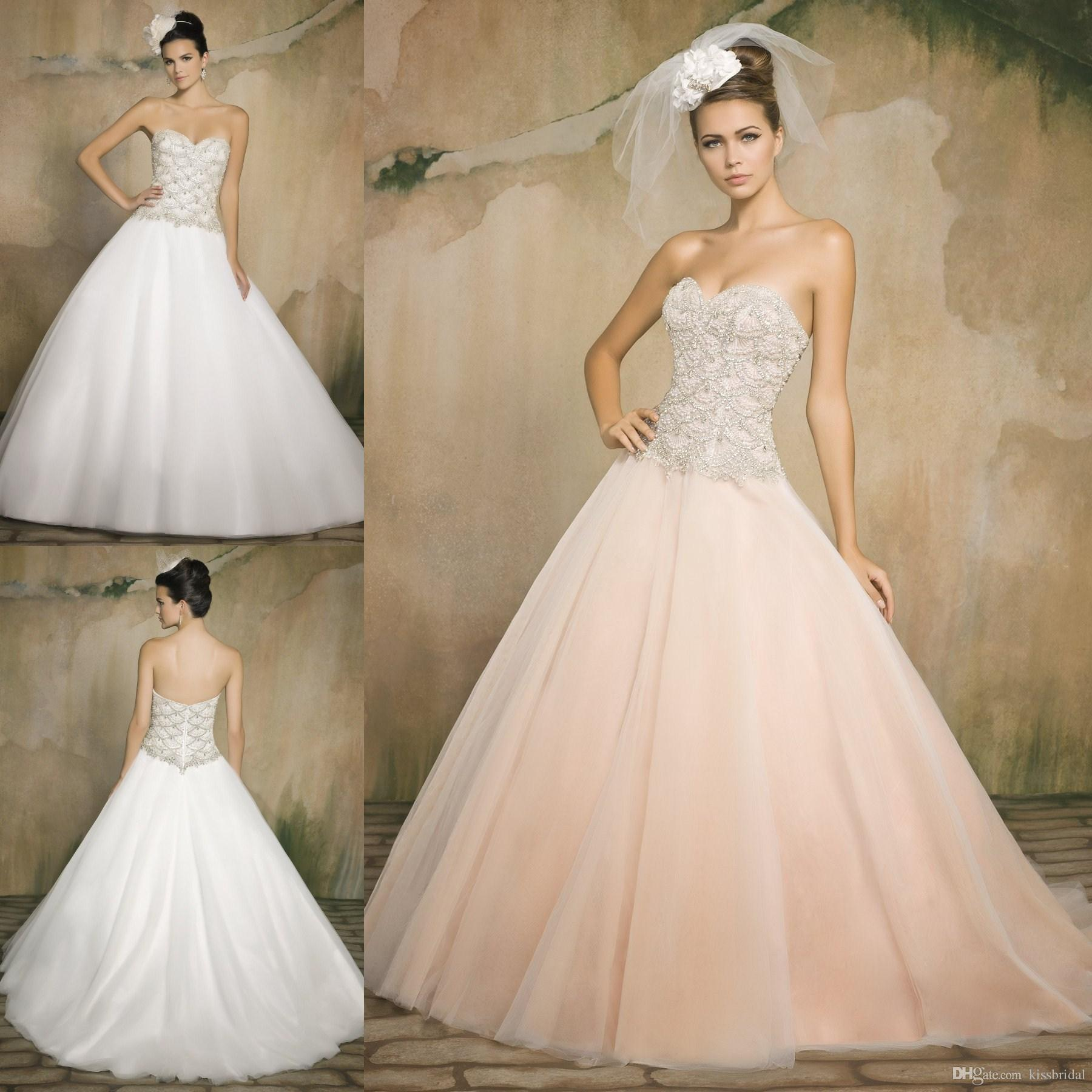 Discount 2015 Blush Ball Gown Wedding Dresses Beaded Lace Sweetheart A Line Court Train Tulle Bridal Gowns Custom Size With Sleeves