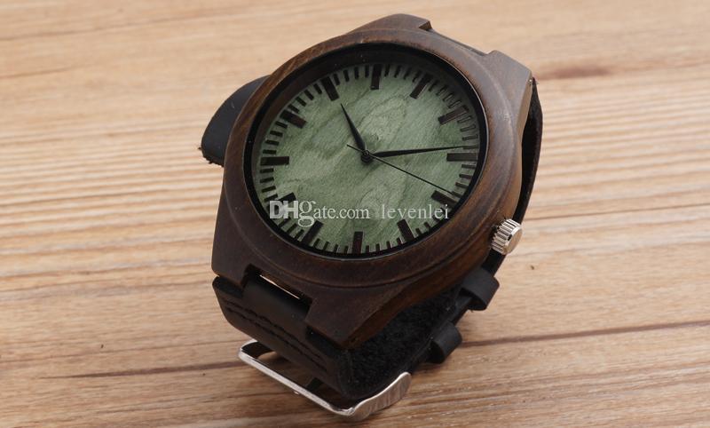 Reloj de madera de ébano japonés miyota 2035 movimiento relojes de pulsera de cuero genuino relojes de madera esfera verde con escala para hombres mujeres
