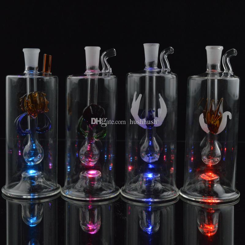 Melhor Bongs Dab Rig Design exclusivo Mini Tubos De Água De Vidro Automática Multicolor LEVOU Luz 5