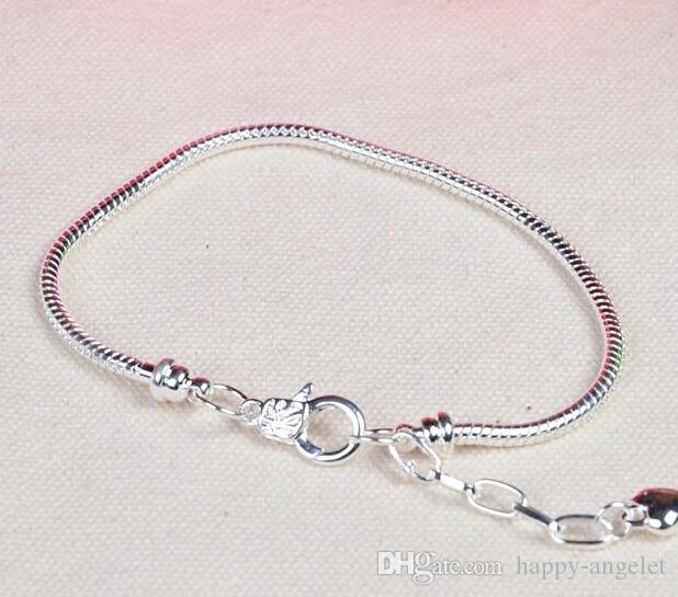 classic DIY 925 silver plating Snake chain Bracelets + Extension of the chain fit Europen Charms beads Lobster clasp bracelet