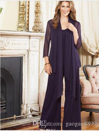2019 Artı Boyutu anne Gelin Pant Ceket ile Suits Mor kıyafetler Custom Made Şifon Uzun Kollu anne damat