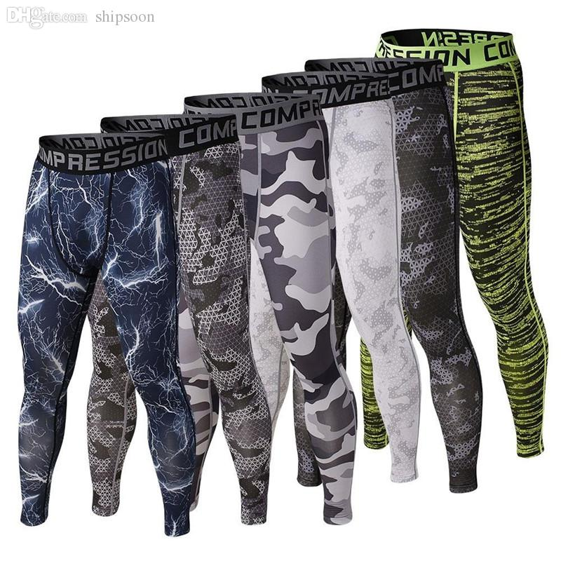Wholesale mens gym clothing sports tights pro elastic basketball long leggings pants men compression camouflage pants for men size s xl