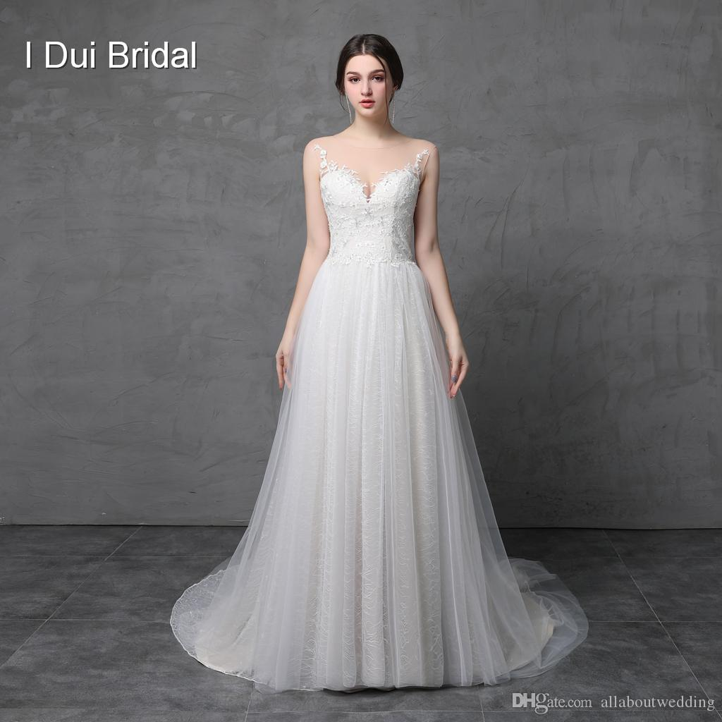 Discount A Line Illusion Neckline Lace Appliqued Wedding Dresses