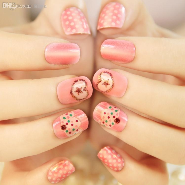 Wholesale Pink Cake Pattern Japanese Cute False Nails Set Short Size ...