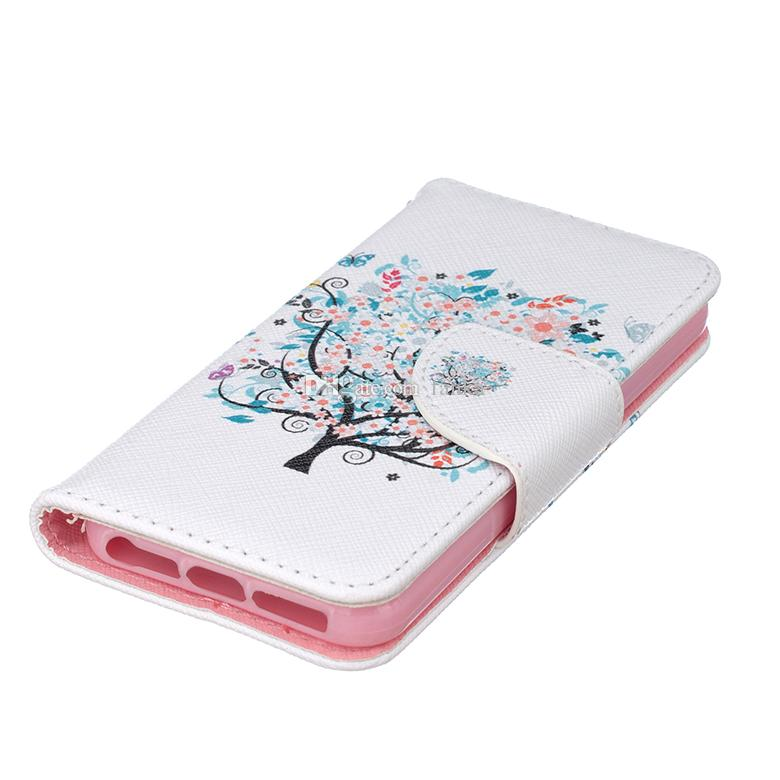 High Quality Polychrome Tree Flip Cover PU Leather Case With Stand Wallet Case For iPhone 7 6s Card Pocket