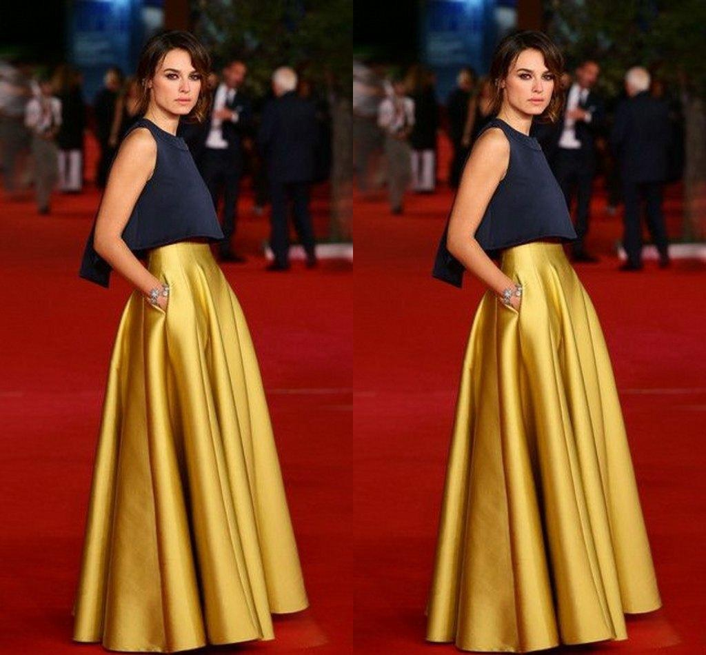 2018 High Waist Celebrity Skirt For Women Floor Length Long Skirt Satin Gold Formal Skirt For ...