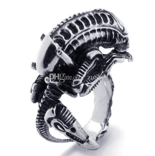Factory Price Men's Cool ET Monster Ring 316L Stainless Steel Rock PUNK Biker Alien Ring Cool Man Jewelry