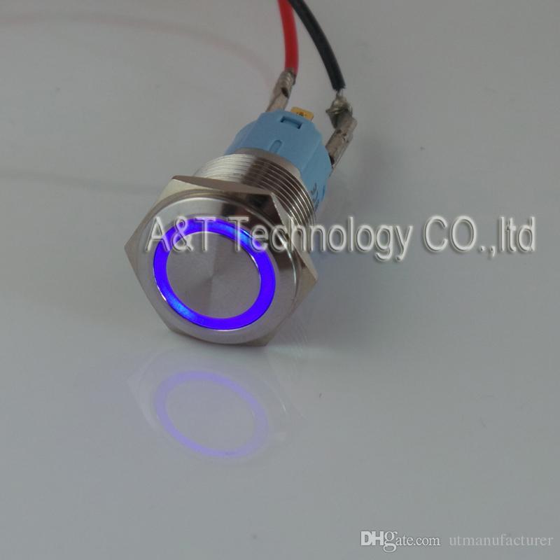 TUV CE 품질의 자동차 보트 16mm의 12V 블루 링 / 오프 마이크로 안티 반달 방수 순간 푸시 버튼 스위치에 조명 주도