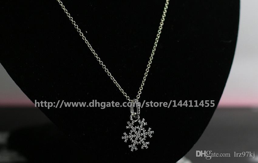 Collar de perlas sueltas DIY 925 colgante de plata esterlina collar con encantos de Pandora estilo europeo y colgantes de perlas - copo de nieve