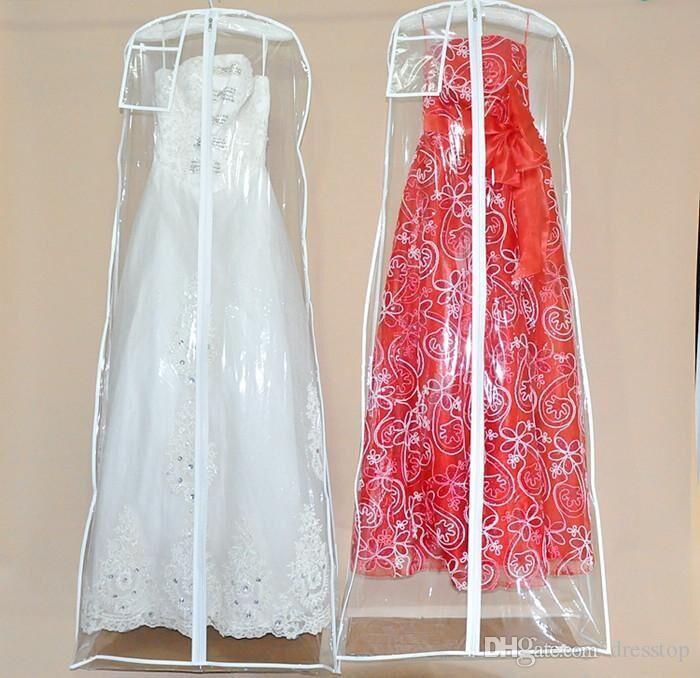 Transparent PVC Staubbeutel Für Hochzeitskleid Prom Abend Party Kleid Taschen 160 * 58 CM Hochzeit Zubehör Kleidungsstück Abdeckung Reise Speicher Staubabdeckungen