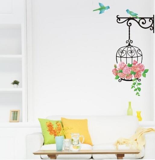 Bird Cage Rose Flowers Blue Bird Wall Decal Sticker Decor Living Room Art Decor Poster Removable PVC Wallpaper
