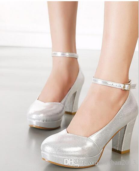 Sparkly Wedding Shoes Pumps Thick Heel Ankle Strap Bridesmaid ...