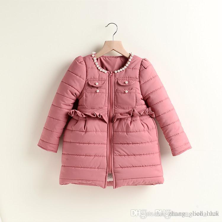 Hot!winter Girls Coats High Class Pearl Collar Kids Coats Zipper ...