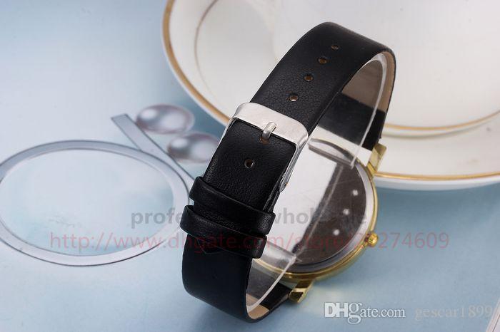 New Arrival Christmas Gift Cute Face Gold Shell Leather Belt Wristwatch Watch for Men Women Children